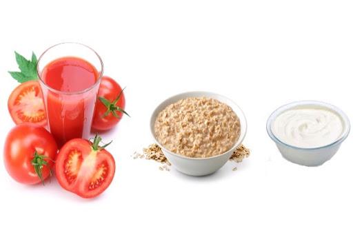 Kết quả hình ảnh cho Mặt nạ cà chua, yến mạch và sữa chua